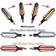 4x Motorcycle Flowing 24 LED Turn Signal Indicator + White DRL + Red brake Light