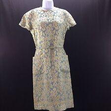 Vintage Best & Co Brocade Dress 1940's Tie Back Side Pockets