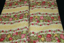 Vtg Waverly Roanoke Stripe Fruit Grapes Apples Pears Floral Fabric by the Yard