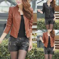 Women PU Leather Coat Zipper Jacket Biker Coat Slim Casual Outwear Autumn M-2XL