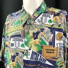 Notre Dame Fightin' Irish Reyn Spooner Hawaiian Button Up Shirt XXL Rayon VNTG
