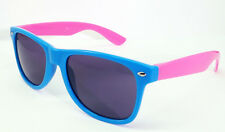 Marco de dos tonos gafas de sol Azul Rosa Brazos Shades UV400 Hombres Damas Estilo Clásico