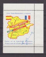 "Andorra - Raketenpost, Vignette zum ""Ersten Zucker-Raketenstart in Andorra"" 1962"