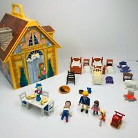Playmobil Take Along Doll Play House Home + Figures Accesories Lot 2005 (BB)