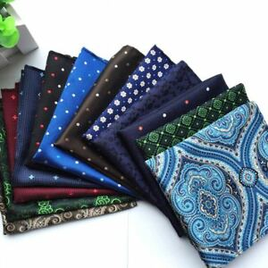 "Lot 12 Packs Men's Hanky 10"" Pocket Square Polka Dot Floral Silk Handkerchief"