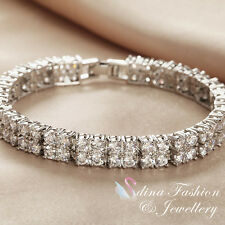 18K White Gold Filled Simulated Diamond Stunning Square Tennis Bracelets