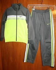 NIKE Boys' Sz 7 TRACK SUIT (jacket & pants; yellow/gray) GUC