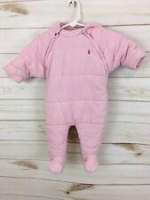Ralph Lauren Baby Girl Pink Corduroy Hooded Snowsuit/Pram. Size 6M. EUC.