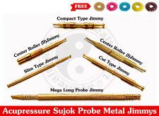 Sujok Acupressure Probe Brass Metal Diagnostic Roller Jimmys +Free 5 Sujok Rings