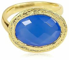 Saachi Gold-Tone Oval Blue Chalcedony Oval Asymmetrical Ring, Size 6 NWT