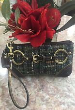 COACH Brown Green Wool Tweed Suede Leather Clutch Wristlet With Ring Detail EUC
