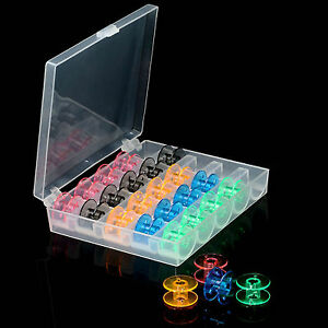 25 Bobbins with Plastic Case Storage for many makes models UK Wholesale
