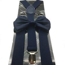Navy Blue Unisex Bow Tie & Suspender Tuxedo Wedding Party Apparel Accessories