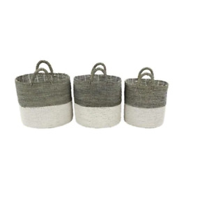 Round Gray and White Colorblock Seagrass Baskets (Set of 3)