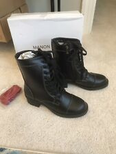 Womens Black Motorcycle Boots Size 9 New Lace Up And Zipper
