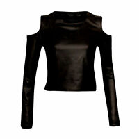 NEW BLACK  LEATHER LOOK CUT OUT COLD SHOULDER CROP TOP will fit size 8-14