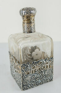 Antique 18th Century German Hallmarked Silver Repousse Glass Decanter Bottle