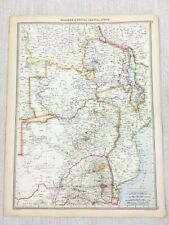 1909 Antique Map of Rhodesia Zimbabwe British Central Africa George Philip