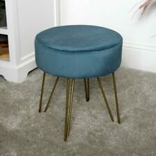 Blue velvet stool hairpin leg bedroom living room boudoir seating upholstered