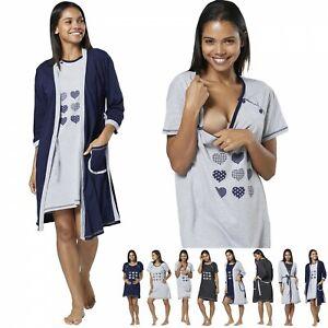 HAPPY MAMA Women's Maternity Nursing Buttoned Printed Nightshirt/ Robe 1169