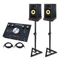 "KRK Rokit 5 G3 RP5G3 5"" Powered Studio Monitor Speakers Pair w Interface, Stands"