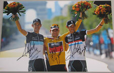 "2011 CADEL EVANS-ANDY SCHLECK-FRANK SCHLECK Hand Signed HUGE 12""x18"" Photo"