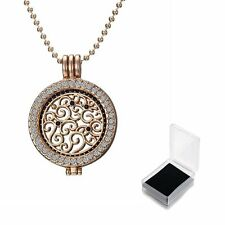 Women Fashion Crystal Flower MY Coin Mi Disc Locket Pendant Chain Necklace Gift