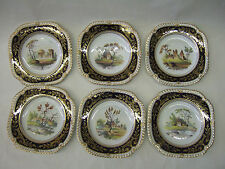 Chamberlain Worcester  hand painted  plates set  of 6+tray  English Porcelain