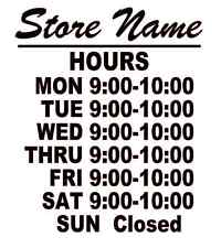 """Business Store Hours Sign Window Shop Open Closed Vinyl  Decal 10""""x9"""" VER 4"""