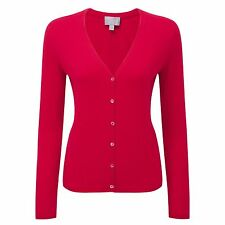 Pure Collection Cherry Red V Neck Cashmere Cardigan Size UK 8 LF075 BB 16