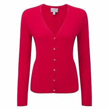 Pure Collection Cherry Red V Neck Cashmere Cardigan Size UK 6 Lf075 GG 12