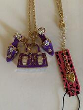 Betsey Johnson PURPLE Enamel Chain Handbag & High Heeled Shoes Necklace-BJ60196