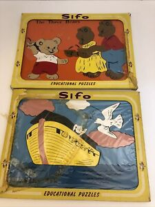 Vintage SiFo Educational puzzles Noah's Ark and The Three Bears Thick Wooden