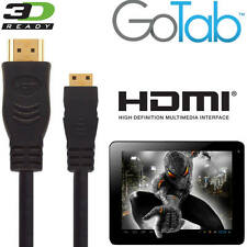 GoTab X, 7, 9 Android Tablet PC HDMI Mini to HDMI TV 5m Long Gold Lead Cable