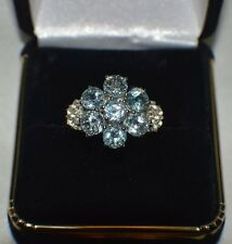 GLAMOROUS 2.76ct. NATURAL SKY BLUE TOPAZ & GENUINE WHITE TOPAZ  COCKTAIL RING