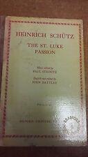 Schutz: el St. Luke pasión: partitura (LP4)