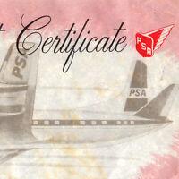 Vintage 1964 PSA First Flight Certificate Super Electra Jet Airplane
