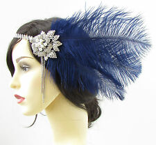 Navy Blue Silver Ostrich Feather Headpiece Vintage 1920s Flapper Headband 693