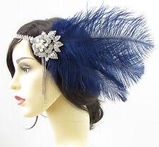 Navy Blue Silver Ostrich Feather Headpiece Vintage 1920s Flapper Headband 693