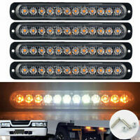 Amber White 4x 12-LED Side Light Marker Beacon Strobe Flashing Truck Emergency