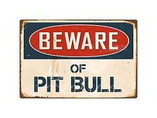 "Beware Of Pit Bull 8"" x 12"" Vintage Aluminum Retro Metal Sign VS334"