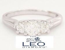 1.06 ct The Leo 18K White Gold Three Stone Round Cut Diamond Engagement Ring IGI
