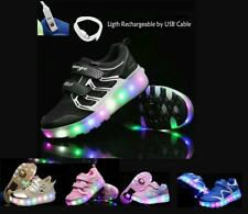 Girls Boys USB Rechargeable Wheel Roller Skate Shoes Wheel Sneakers Gift for Kid