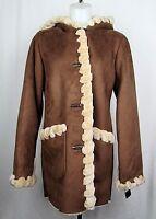 Jones New York Faux Fur Brown Shearling Trim Coat XS, S, M, L