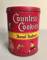 Vintage 1932 Countess Cookies Tin Bond Bakers Children Playing One Pound Tin