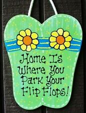 HOME IS WHERE YOU PARK YOUR FLIP FLOPS SIGN Pool Deck Hot Tub Tiki Wall Plaque