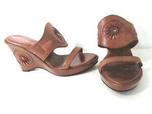 NO PANIC EU 38 US 7.5M 8M Brown Leather Platform Wedge Heel Slide Sandal Shoes