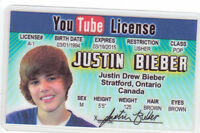 Justin Bieber .. plastic ID card Drivers License -