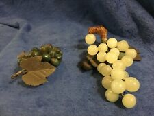 2 Bunches Vintage Fruit Carved Dark Green -Light Green Grape Clusters Stone Leaf