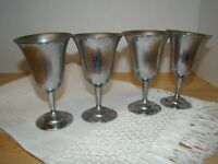 """Stainless Steel ? Not sure  Small Sherry Wine 4.5"""" Tall Set of 4 FREE SHIP"""